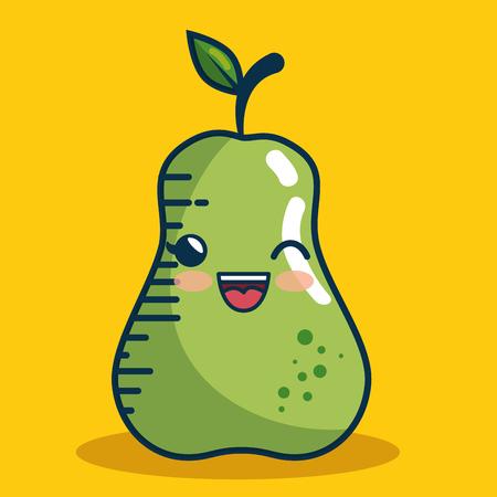 pear fresh fruit character handmade drawn vector illustration design