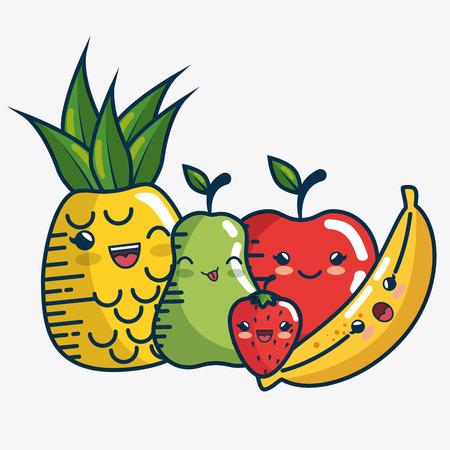 set fresh fruits characters handmade drawn vector illustration design