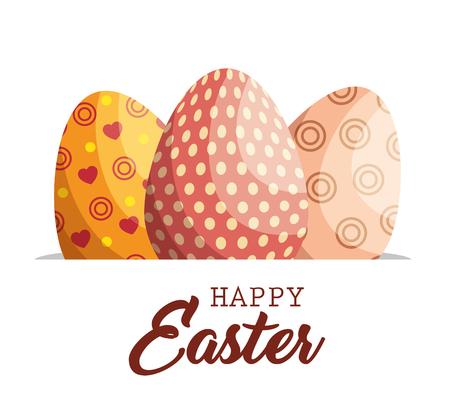 eggs painted easter celebration vector illustration design Illustration