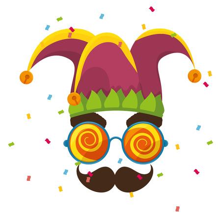 tonto: Máscara idiota icono loco diseño de ilustración vectorial