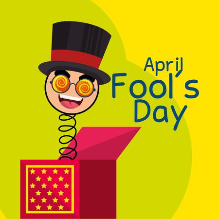 april fools day celebration card vector illustration design Illustration