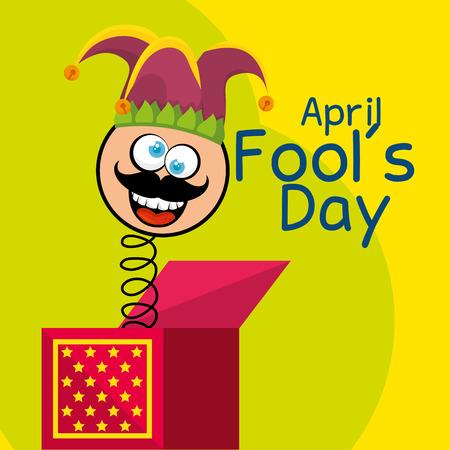 april fools day celebration card vector illustration design