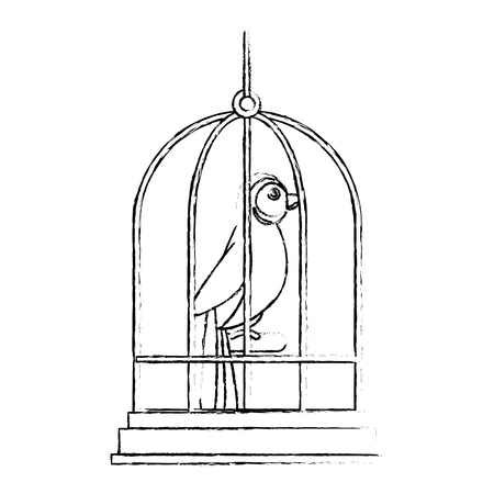 cute bird in cage mascot vector illustration design
