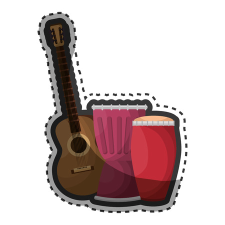 guitar and drums instrument isolated icon vector illustration design