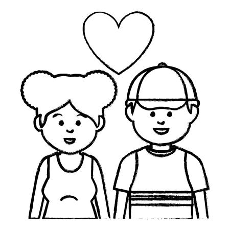 cute lovers couple ethnicity vector illustration design