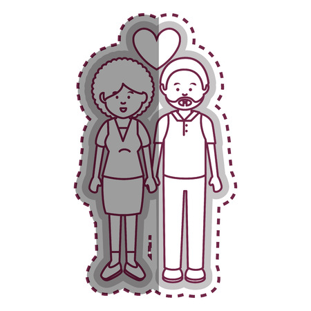 cute lovers couple ethnicity vector illustration design