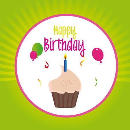Birthday design over green background, vector illustration