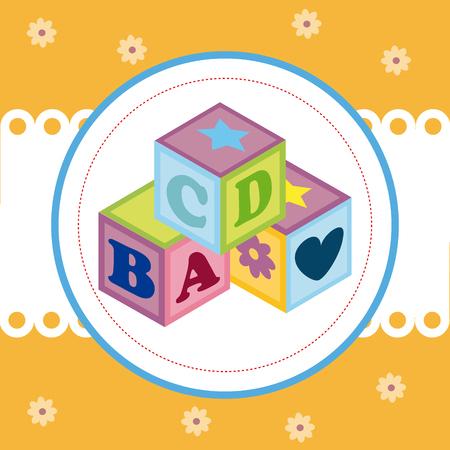 Baby shower design over yellow background, vector illustration Illustration