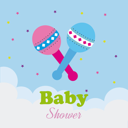 Baby shower design over cloudscape background, vector illustration Illustration