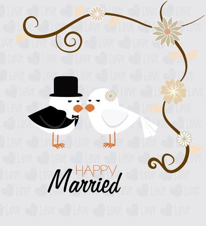 Wedding  design over gray background, vector illustration