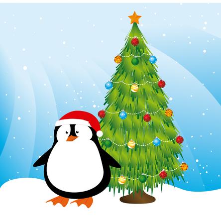 Merry christmas design over blue background, vector illustration Illustration