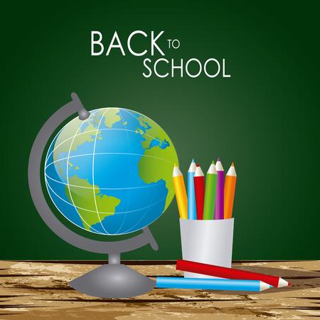 Back to school  design over blackboard background, vector illustration Illustration