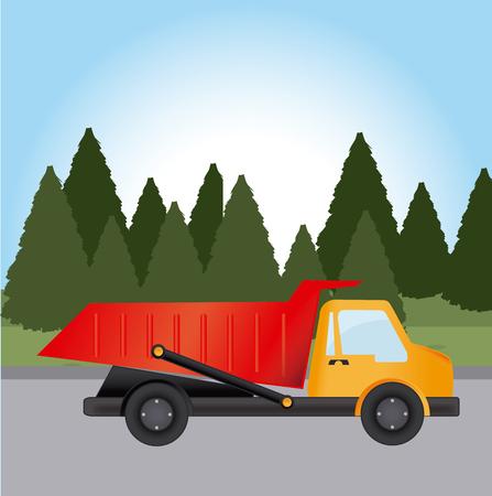 truck driver: Transport design over landscape background, vector illustration