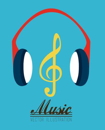 Music design over blue background, vector illustration Illustration
