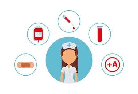 equipo médico alrededor de icono de dibujos animados de enfermera de mujer sobre fondo blanco. diseño colorido. ilustración vectorial