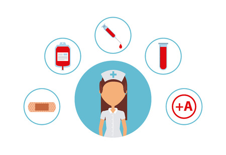medische apparatuur rond vrouw verpleegster cartoon pictogram op witte achtergrond. kleurrijk ontwerp. vectorillustratie