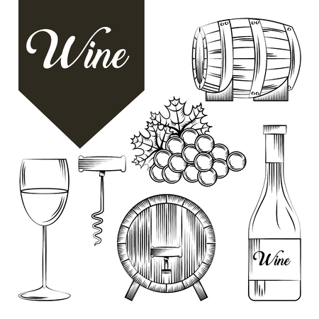 wine house related icons over white background. vector illustration Illustration