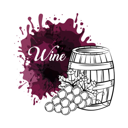 barrel and bunch of grapes. wine house related icons over white background. vector illustration