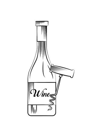 wine bottle and corkscrew over white background. vector illustration