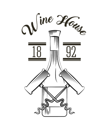 wine bottle and corkscrew over white background. wine house related icons. vector illustration