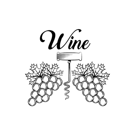 corkscrew and bunch of grapes .wine house related icons over white background. vector illustration