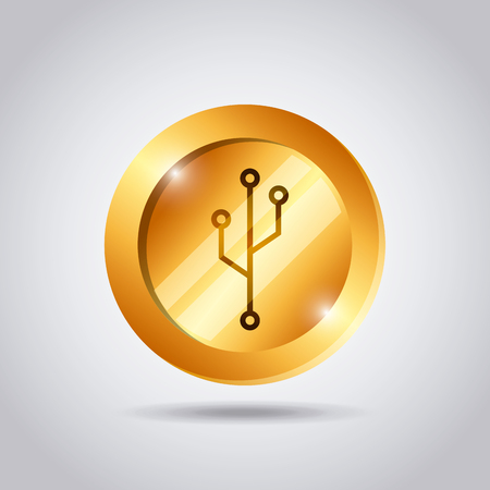 metal net: golden coin with usb icon over white background. colorful design. vector illustration