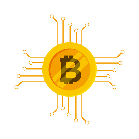 bitcoin virtual coin over white background. vector illustration