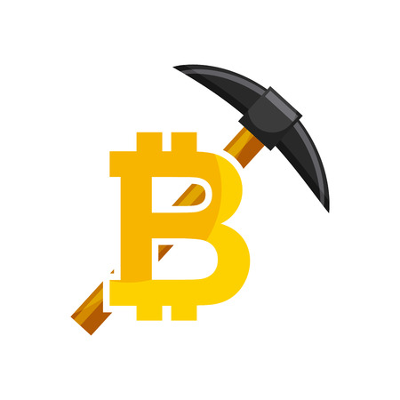 metal net: bitcoin and pick tool over white background. colorful design. vector illustration