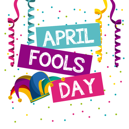 april fools day card with jester hat icon over white background. colorful desing. vector illustration