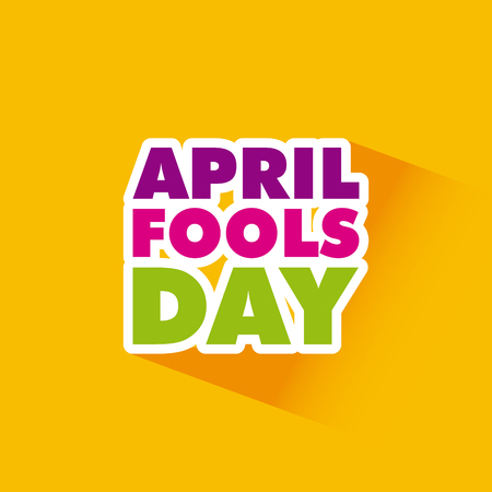 april fools day card over yellow background. colorful desing. vector illustration Ilustração