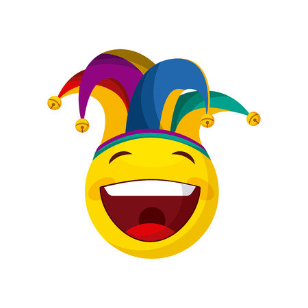 happy emoji with jester hat over white background. april fools day concept. vector illustration Ilustração