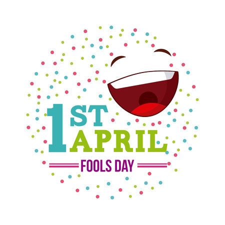 april fools day card with happy face icon over white background. colorful desing. vector illustration Ilustração