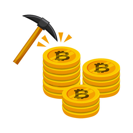 golden stack of bitcoins and pick tool  over white background. colorful desing. vector illustration