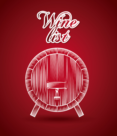 barrel icon over red background. colorful design. wine house concept. vector illustration