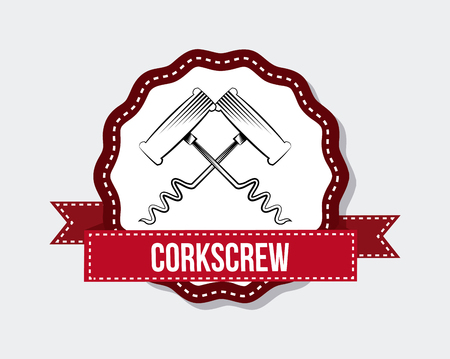 seal stamp with corkscrews icon over white background. colorful design. vector illustration Illustration