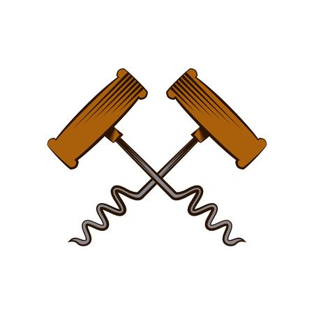 corkscrews crossed over white background. colorful design. vector illustration