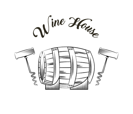 corkscrew and barrel with wine icon over white background. vector illustration Illustration