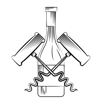 wine bottle and corkscrews over white background. vector illustration