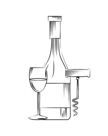 wine bottle, corkscrew and wineglass icon over white background. vector illustration Illustration