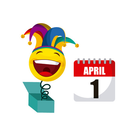 calendar and joke box with happy face over white background. april fools day concept. colorful design. vector illustration Illustration
