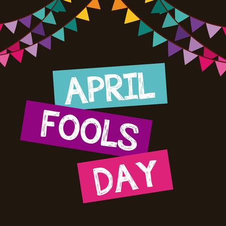 April voor de gek houdt dagkaart met decoratieve wimpels over zwarte achtergrond. kleurrijk ontwerp. vectorillustratie