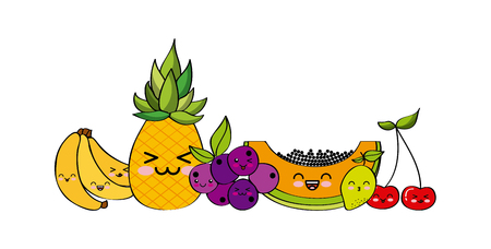 kawaii fruits icon over white background. colorful design. vector illustration Illustration