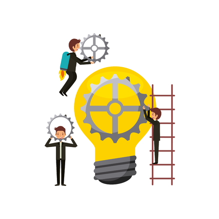 Men with bulb light and gears  over white background.teamwork concept. colorful design. vector illustration Illustration