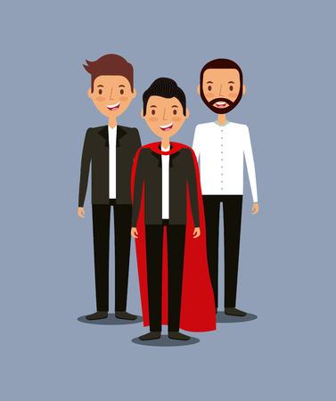 cao: group of mens teamwork concept. colorful design. vector illustration
