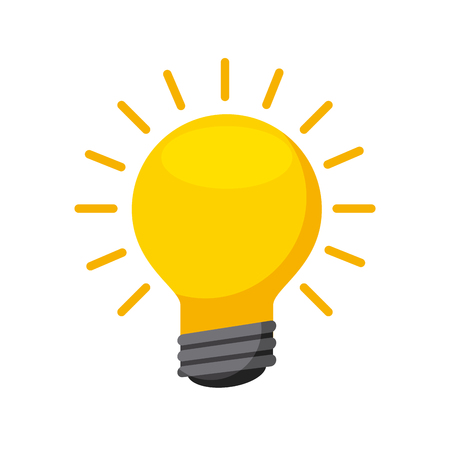 yellow bulb light icon over white background. colorful design. vector illustration