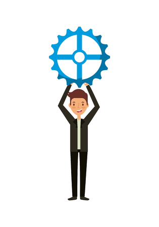 man holding a gear wheel over white background. teamwork concept. colorful design. vector illustration