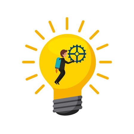 bulb light with man icon over white background. teamwork concept. colorful design. vector illustration Illustration