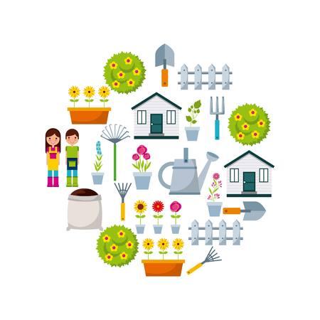 gardening icons on circle shape over white background. colorful design. vector illustration Illustration
