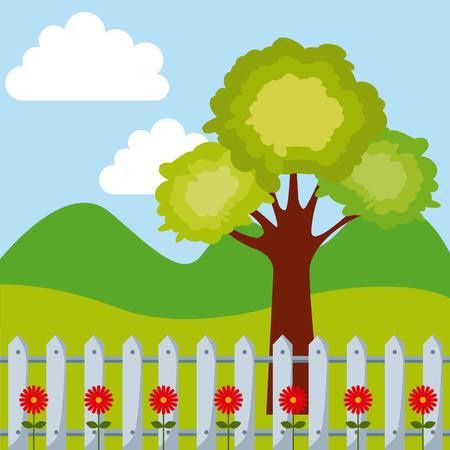 beautiful garden with flowers growing. colorful design. vector illustration