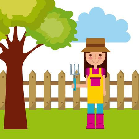 gardener woman cartoon icon over landscape background. colorful design. vector illustration